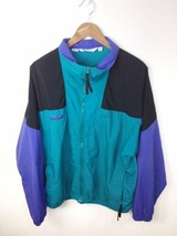 Vintage Columbia Radial Sleeve Retro Full Zip Windbreaker Rain Coat Mens... - $22.43