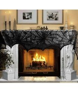 Halloween 243cm Fireplace Mantel Scarf Cover Black Lace Spiderweb Tablec... - $8.99
