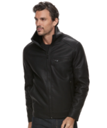 NEW Marc Anthony Men's Faux Leather Slim-Fit Sherpa Moto Jacket Black  L... - $79.94