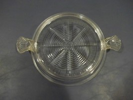 Very Good Vintage Fire-King Clear Glass Round Hot Plate With Tab Handles - $7.91
