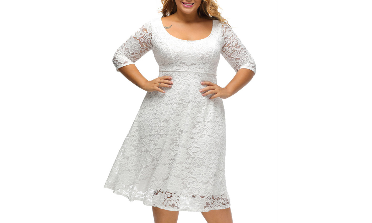 Primary image for Women's Floral Lace 3/4 Sleeve Flare A-line Plus Size Midi Dress