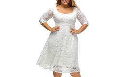 Women's Floral Lace 3/4 Sleeve Flare A-line Plus Size Midi Dress - $630,39 MXN