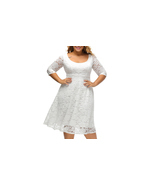 Women's Floral Lace 3/4 Sleeve Flare A-line Plus Size Midi Dress - £25.51 GBP