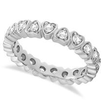 0.60 Ct Round Cut Diamond Natural Heart Desing Full Eternity Band 14K Go... - €438,90 EUR