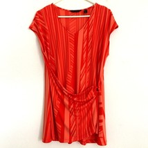 H by Halston Women's Medium Shirt Tunic Orange Striped Faux Wrap Draped ... - $19.99