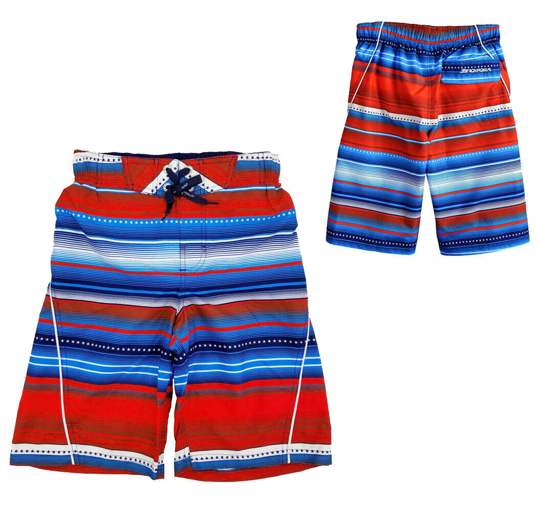 ZeroXposur Boys' Printed Board Shorts Stars Stripes Beach Swim Trunks - S