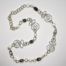 Necklace the Aluminium Long 80 Inch with Chalcedony and White Pearls image 2