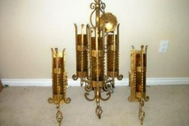 MISSION ARTS & CRAFTS CHANDELIER SCONCE SET GILT IRON ITALIAN MURANO CAG... - $1,575.00