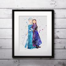 Elsa and Anna Frozen Disney art, Disney Poster, Disney Painting, Disney ... - $3.50