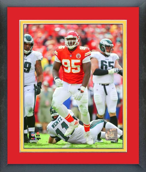 Chris Jones 2017 Kansas City Chiefs vs Eagles -11x14 Matted/Framed Photo