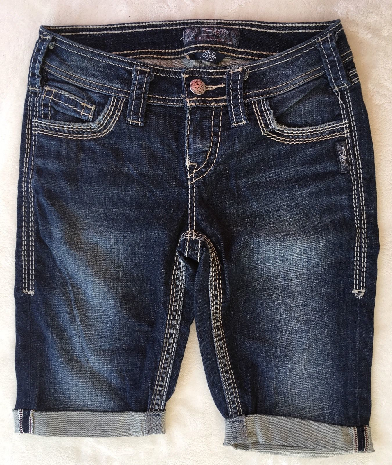 New SILVER Jeans Sale Buckle Dark Mid Rise Aiko Denim Jean Stretch Shorts 27