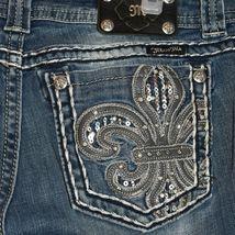 Miss Me Women's Fleur de Lis Mid-Rise Easy Boot Cut Blue Denim Jeans Size 30 image 3