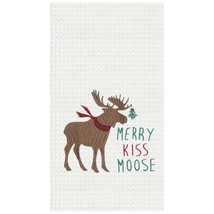 Merry Kiss Moose Waffle Weave Christmas Holiday Kitchen Dish Towel - $25.76
