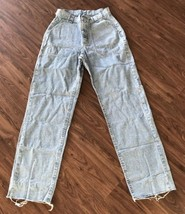 Womens Revited By Lee Jeans Size 5/6 Small Waist Blue Denim Distressed - $12.19