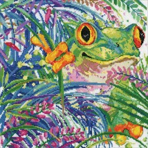 """Design Works Counted Cross Stitch Kit 12""""X12""""-Tree Frog (14 Count) - $28.49"""