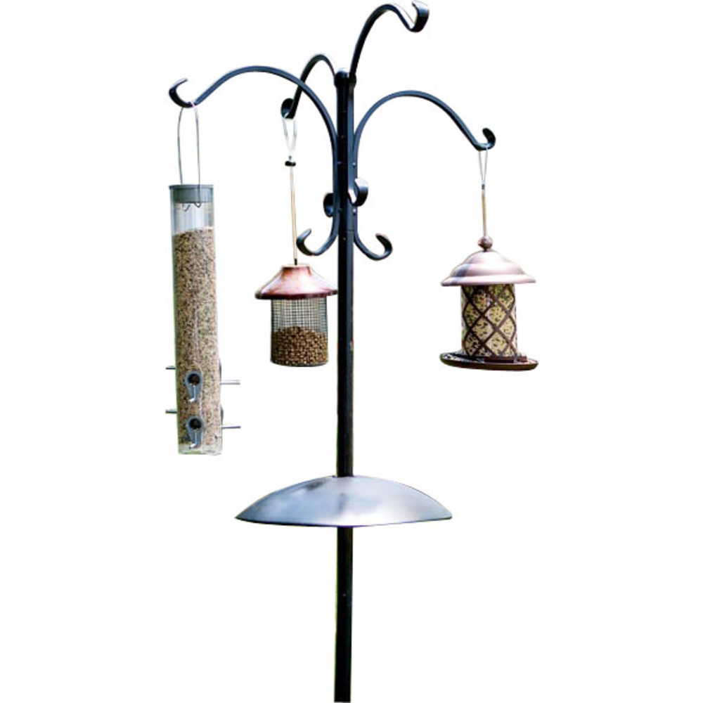 Primary image for Audubon Woodlink Black Four Way Bird Feeding Station W/squirrel Baffle 90 Inch 0