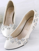 Women Rhinestone Bridal Heels,Lace wedding Heels,bridesmaid Heels uk 3,4... - $39.99