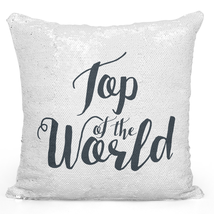 Sequin Throw Pillow Modern Home Decor Flip Mermaid Pillows Silver Top of World - $34.25