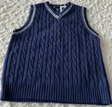 NEW Gap Kids Boys Navy Blue White Cable Knit Sweater Vest XS 4-5 - $21.77