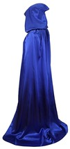 Blue Hooded Cloak Long Velvet Cape Cosplay Costume Wizard Raven Size L 1... - $17.75