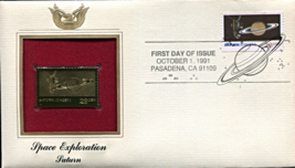 SPACE EXPLORATION - Saturn First Day Gold Stamp Issue Oct. 1, 1991 - $6.50