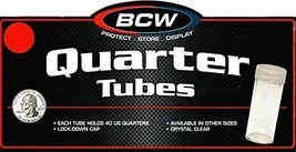 20 BCW Round Clear Plastic Quarter 24 mm Coin Tubes w/ Screw-On Cap - $9.48