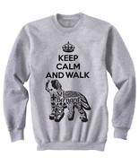 Saint bernard dog - keep calm and walk b - NEW COTTON GREY SWEATSHIRT- A... - $31.88