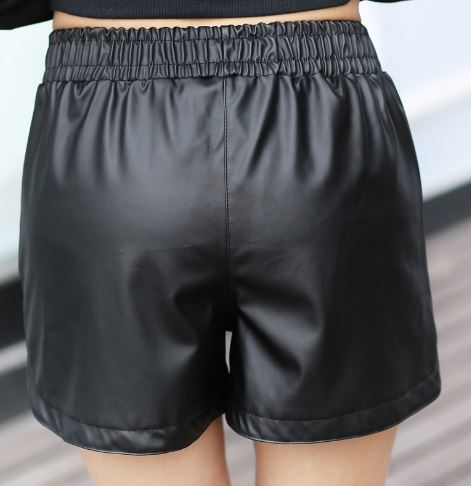 Womens Black High Waist Faux Leather Shorts 8 10 12 14 16 18