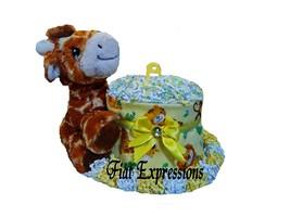 Safari Mini Diaper Cake, Baby Neutral Mini Diaper Cake, Jungle Mini Diap... - $43.00