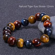 Fashion 8mm 10mm 12mm colorful Tiger eyes Beads Bracelet Men Charm Natural Stone - $12.84