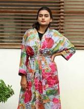 Fruit Print Kimono & Gown Long Size Cotton Bath Robe Indian Handmade Sle... - £25.19 GBP