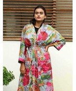 Fruit Print Kimono & Gown Long Size Cotton Bath Robe Indian Handmade Sle... - $34.65