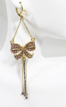Betsey Johnson Pink Crystal Gold-tone Bow Dangle Earrings NEW - $44.55