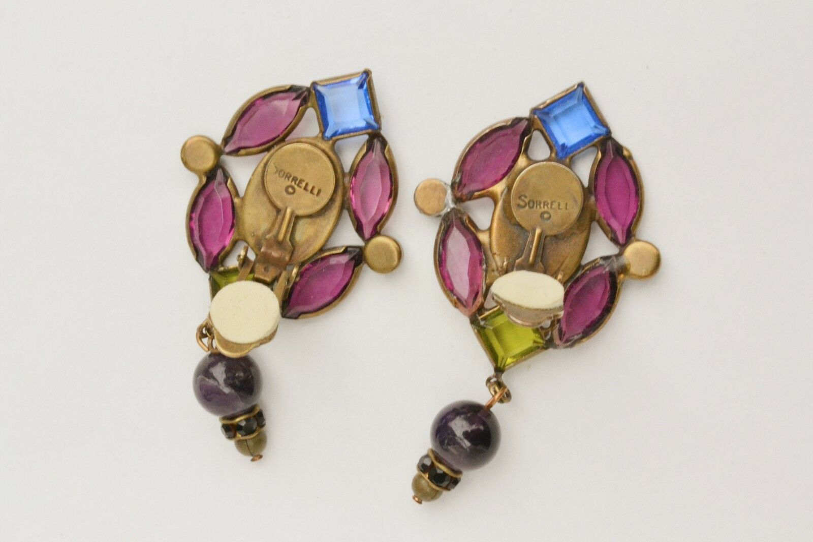 Vintage Sorelli clip earrings runway stained glass style bezel set open back big