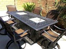 Fire pit dining propane table set 7 piece outdoor cast aluminum patio furniture image 2