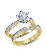 925 Sterling Silver Yellow Gold Fn Diamond Bridal Engagement Wedding Ring Set - $83.99