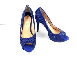 GIANNI BINI Women's Heels Blue Studded Jeweled Peep Toe Embellished Plat... - $29.52