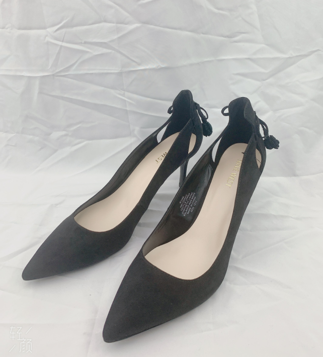 Primary image for NEW Women's Nine West Melodeeo Suede BLACK low heel Authentic Shoe