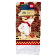 FAT CHEF KITCHEN TOWELS Set of 2 Tea Dish Towel Red Wine Bistro Cook NEW - $7.99