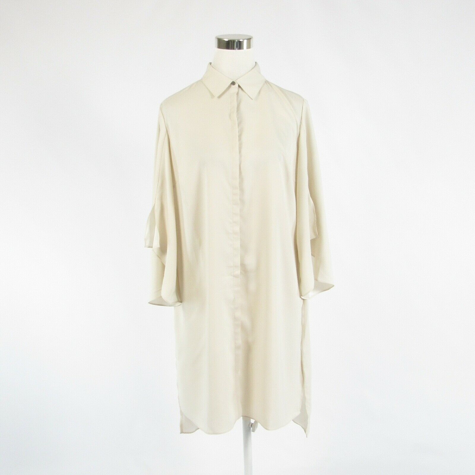 Primary image for Light beige H BY HALSTON bell sleeve button down blouse S NWOT