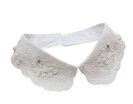 Retro Elegant Lace Beads Detachable False Collar Stand Collar-Flowers