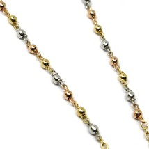 """18K YELLOW ROSE WHITE GOLD 20.5"""" ROSARY NECKLACE MIRACULOUS MEDAL CROSS image 2"""