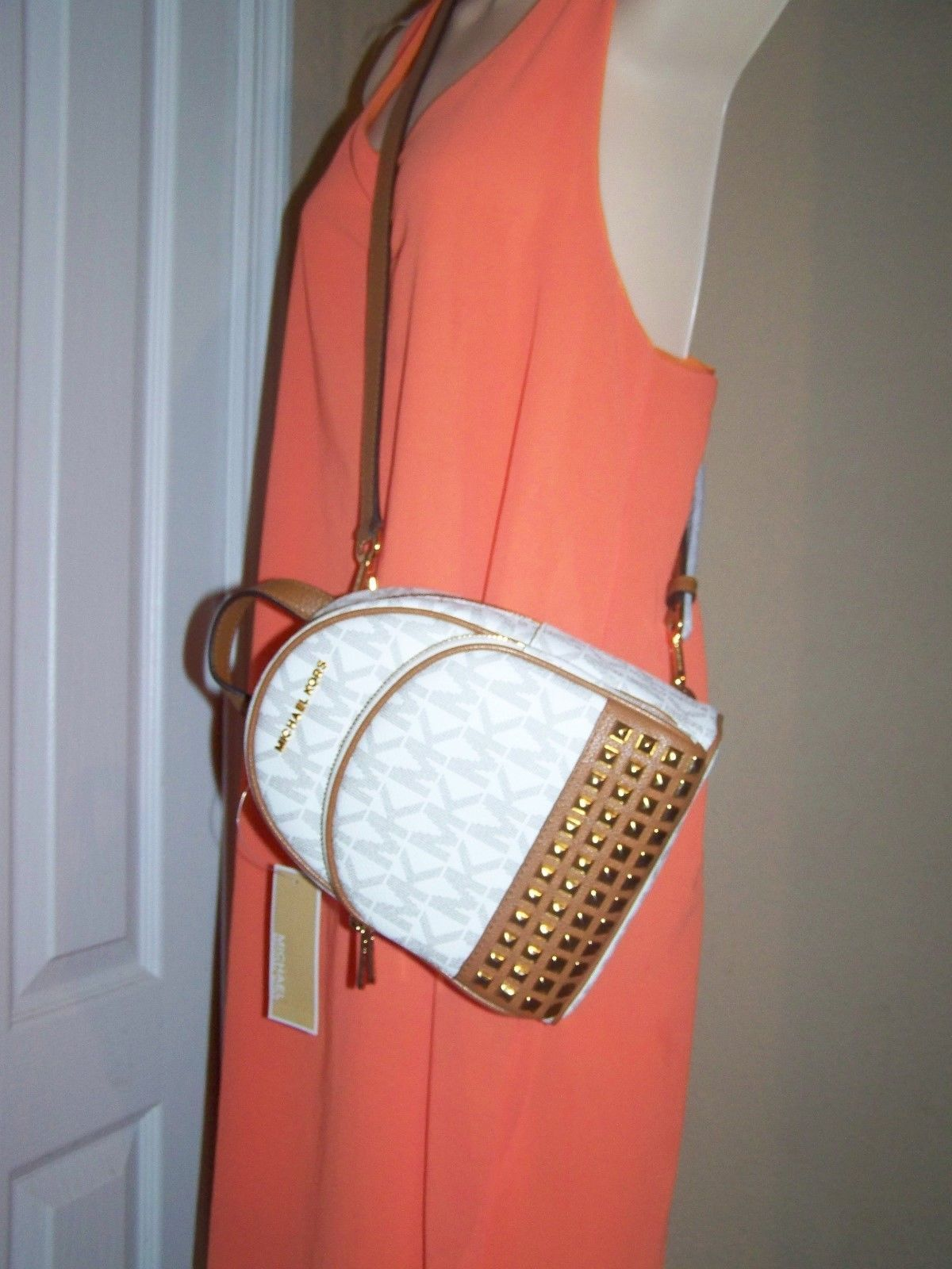 60e299f02072 Michael Kors Abbey Studded Leather BackPack Crossbody XS Vanilla Acn NWT   348