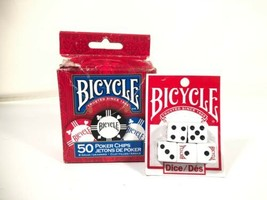 Bicycle 50 Clay Filed Tournament Feel Poker Chips 5 Dice Lot - $19.79
