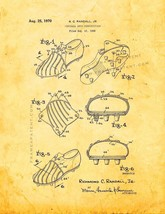 Football Shoe Construction Patent Print - Golden Look - $7.95+