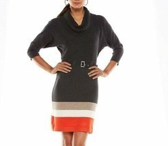 Jessica Howard Sweater Dress Sz L Grey Multi Cowl Neck Belted Career Cas... - €44,80 EUR