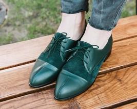 Walking Companion Deep Teal Green Split Cap Toe Derby Leather Women Shoes - £105.17 GBP - £145.62 GBP