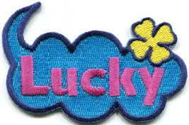 Lucky retro hippie pink blue embroidered applique iron-on patch S-1415 - £2.24 GBP