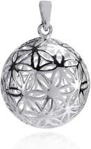 Flower Of Life Kabbalah 3D Ball .925 Sterling Silver Pendant - $136.12