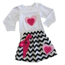 Cute Kids Clothing Toddler Girl Valentine's Day Outfit Chevron Heart Ski... - $19.99